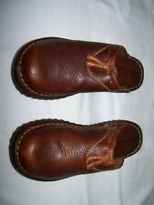 BORN FOOTWEAR Women's Brown Leather Tassel Clog Shoes W9541 - Size US 6/EU 36.5