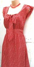 SIZE 10 WW2 40'S VINTAGE STYLE TEA DRESS RED WHITE POLKA DOT SPOT ~ US 6 EU 38
