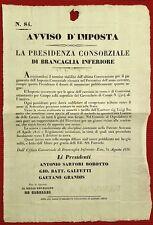 G51-PADOVA, ESTE, AVVISO D' IMPOSTA SUI TERRENI DI BRANCAGLIA INFERIORE, 1836