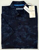 NWT $135 Tommy Bahama Short Sleeve Indigo Blue South Beach Shirt Mens Size M NEW