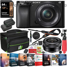 Sony a6100 Mirrorless Camera 4K APS-C ILCE-6100LB 16-50mm Lens Case 64GB Bundle