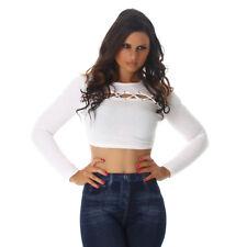 Sexy Sweatshirt Shirt Pulli Pullover Bauchfrei mit Schnürung Weiß M 36 38