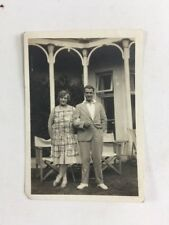 Vintage BW Real Photo #BF: Couple Outside Deckchair Director Chair