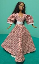 Pink & White Country Gown with Leaf Print for Barbie & Teen Skipper Dolls MP61