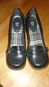 Route 66 Wedge Buckle Shoes Rockabilly Gothic Black Platform Womens Size 7.5