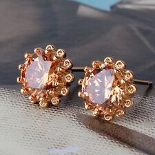 Radiant Topaz stud earring! 18K gold filled Topaz charm lady earring