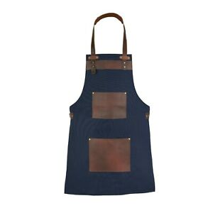 Blue Canvas With Brown Pocket Butcher BBQ & Cooking Apron Hairstylist Apron A2