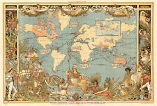 """Vintage Old World Map British Empire 1800's CANVAS PRINT poster 16""""X12"""""""