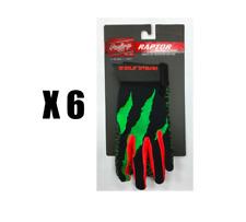 6 pairs of New Rawlings Raptor baseball batting gloves youth Medium RRBGY pack