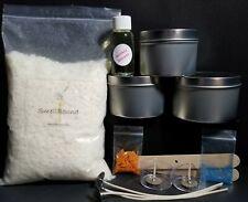 "Creative DIY ""Basic"" Soy Wax Candle Making Kit - wax*wicks*color*fragrance*tins"