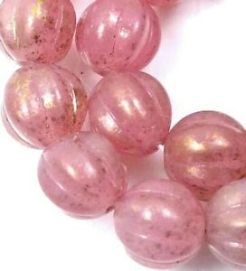 12 Czech Glass Melon Round Beads 8mm - Milky Pink - Marbled Gold