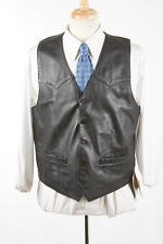NWT Mens SCULLY Vest Sz 44 in Black Leather Western Reenactment