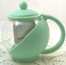 Glass Infusion Teapot~Cold or Warm Brew~Fruit Infuser~2 Cup/16 Oz~NWOT~Lt Green