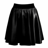 New Womens Ladies PVC Wet Faux Leather Look Celeb Flared Skater Swing Skirt 8-14