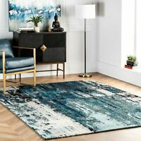 nuLOOM NEW Contemporary Modern Abstract Area Rug in Blue, Grey, White
