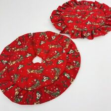 Miniature Christmas Tree Skirt Pair Quilted Red Ruffle Edge Small 9""