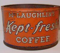 Vintage 1930s MCLAUGHLIN COFFEE TIN CAN 1 POUND TIN CHICAGO ILLINOIS MADE IN USA