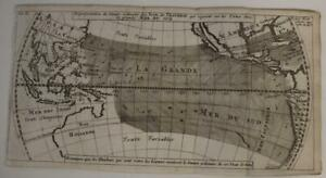 WORLD WINDS  PACIFIC OCEAN AUSTRALIA 1715 DAMPIER UNUSUAL ANTIQUE WORLD MAP
