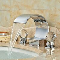 Modern Brass Chrome Dual Crystal Handles 3-Hole Waterfall Bathroom Sink Faucet