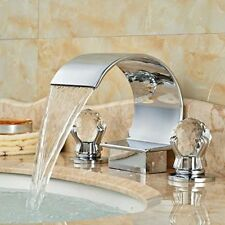 Modern Brass Chrome Dual Crystal Handles 3-Hole Waterfall Bathroom Sink Faucet