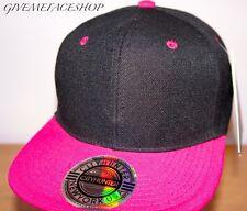 fuchsia Casquette, visière plate noir avec rose ajusté Baseball Hip Hop Chapeau