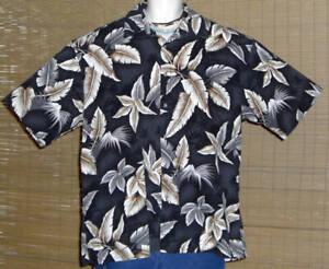 Saddlebred Hawaiian Shirt Black Gray Brown Palm Trees Tropical Leaves XL