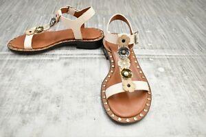 **COACH Tea Rose T Strap Leather Sandal, Women's Size 5.5B, Chalk NEW