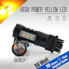 2X 900 Lumen 3157 50W High Power Chip LED Amber Yellow Turn Signal Light Bulbs