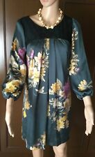 Dress LungidamÈ Woman, green color with flowers, size S, lined Abito Donna