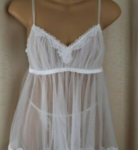I Do by Victoria's Secret Bridal Babydoll and Panties Set White Size S/M NWOT