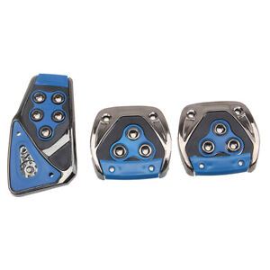 Blue Metal Speed Sporty Non-Slip Manual MT Gas Brake Foot Pedal Pad Cover Car