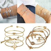 4 PCS Women Bracelet Silver Elegant Charming NEW Jewelry Bracelet Set Gift