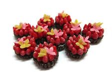 10 Chocolate Tart Strawberry Fruit Bakery Dollhouse Miniatures Food Deco -4