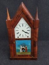 Antique Chauncey Jerome Gothic Steeple Clock w/ Reverse Painted Glass Panel