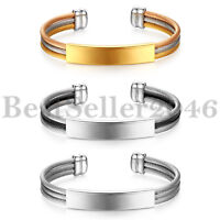 FREE ENGRAVING Men Women Polished Stainless Steel Cable Wire Bracelet Open Cuff