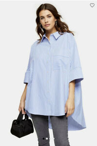 Topshop Stripe Short Sleeve Oversized Poplin Shirt Size 8