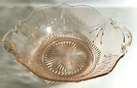 """Lancaster Glass Rose Pink Dart 9"""" Handled Salad Bowl"""