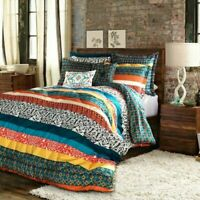 Queen Size Bedding Comforter Set Boho Bohemian Eclectic Colorful Shabby Chic 7Pc