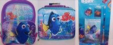 "Disney FINDING DORY NEMO 16"" BACKPACK & LUNCH BAG Lunchbag Box & 4-PC STUDY KIT"