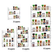 3/4/5/6 Tiers Spice Jar Rack Holder Kitchen Organizer Wall Mount Storage Shelf