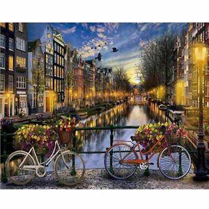 DIY Oil Painting Paint By Numbers Sweet Love Night Riverside Landscape Kit N#