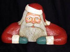 VINTAGE 1986 JACK HUGHES FOLK ART CARVING CHRISTMAS SANTA CANDLE HOLDER ~ SIGNED