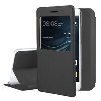 Etui Coque Housse View Case Flip Folio Leather Noir pour Huawei P9 lite/ G9 Lite