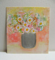 Original Mini Painting, WILD DAISIES IN VASE, Mixed Media, Approx 3 x 2 3/4 inch
