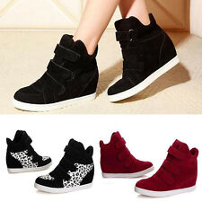 WOMEN FASHION HIDDEN WEDGE HEEL SHOES INCREASED HIGH TOP CASUAL SNEAKERS