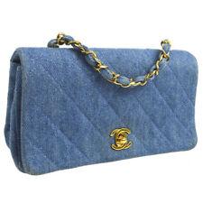 Auth CHANEL Quilted CC Single Chain Shoulder Bag Light Blue Denim NR11893