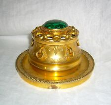 ANTIQUE FRENCH MALACHITE CABOCHON GILT & BRONZE c1870 CONTINENTAL INKWELL