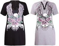 New Plus Size Curve Ladies Eagle Rose Printed Lace Up Tie Rock Top T-Shirt Dress
