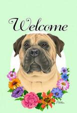 Welcome Flowers Garden Flag - Bullmastiff 630501