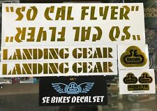 SE RACING - SO CAL FLYER BMX DECAL STICKER SET - SO CAL FLYER STICKERS - GOLD